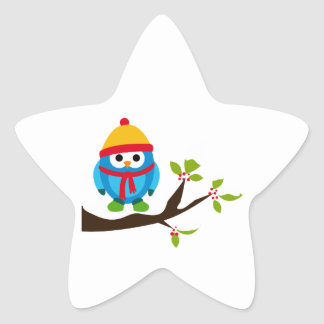 Arbre mignon de casquette d'oiseaux d'oiseau de sticker étoile