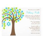 Arbre moderne de bat mitzvah turquoise de vert ble invitation
