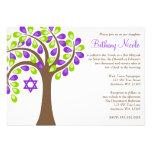 Arbre moderne de bat mitzvah vert pourpre de la invitations personnalisables