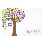 Arbre moderne du bat mitzvah vert pourpre RSVP de  Invitations Personnalisables