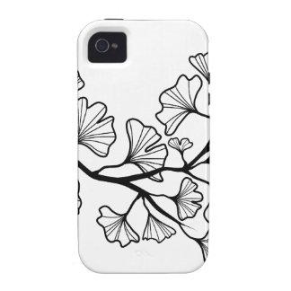 arbre noir de ginkgo avec le feuille coques iPhone 4/4S