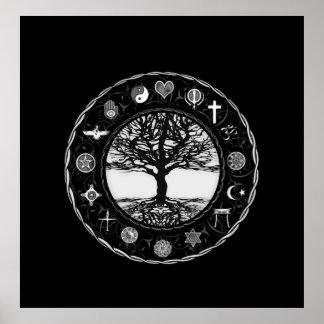 Arbre noir et blanc de religions du monde posters