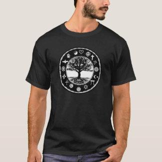 Arbre noir et blanc de religions du monde t-shirt