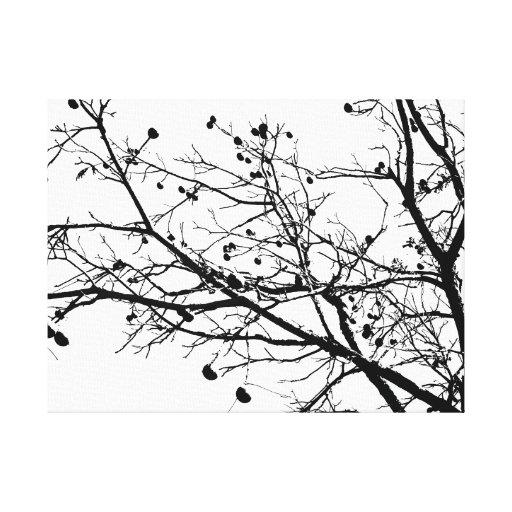 Arbre noir et blanc d'hiver impression sur toile