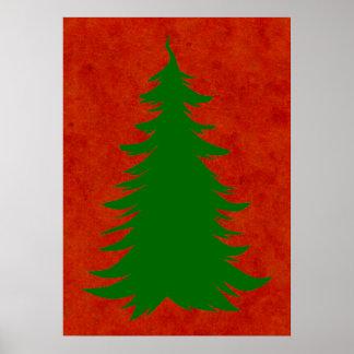 Arbre pour Noël sur le lavage rouge d'aquarelle Posters