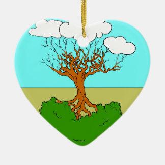 arbre renversé ornement cœur en céramique