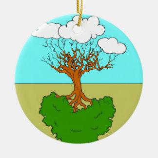 arbre renversé ornement rond en céramique