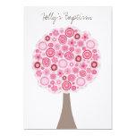 Arbre rose blanc de fleurs de cerisier de baptême faire-part personnalisé