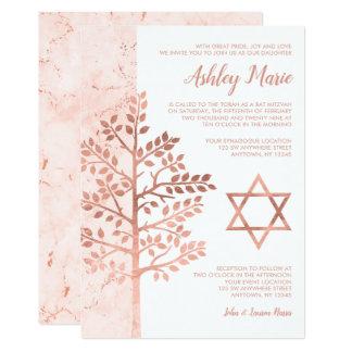 Arbre rose d'or des invitations de bat mitzvah de