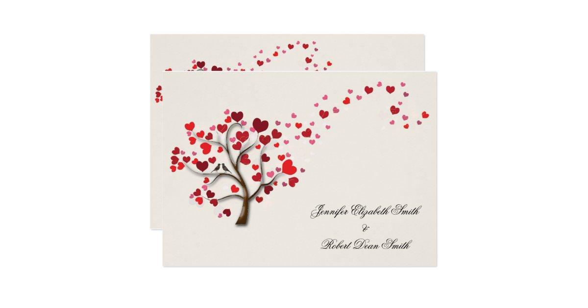 Arbre rouge de coeur sur le mariage en ivoire carton d - Code reduction point rouge la redoute ...