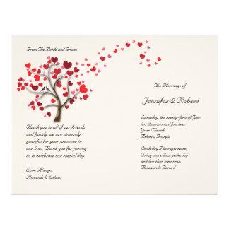 Arbre rouge de coeur sur le programme en ivoire de prospectus 21,6 cm x 24,94 cm