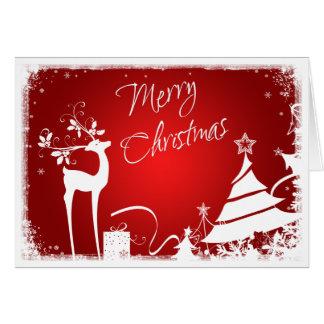 Arbre rouge et blanc de Joyeux Noël avec la carte