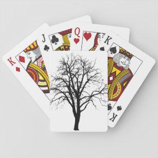 Arbre sans feuilles en silhouette d'hiver jeu de cartes