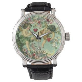 Arbre victorien vintage de coeur de cupidons de montres bracelet