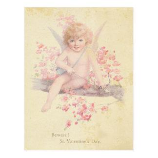 Arbre vintage de fleur de rose de cupidon de cartes postales