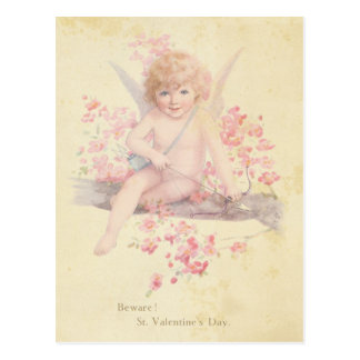 Arbre vintage de fleur de rose de cupidon de Saint Cartes Postales