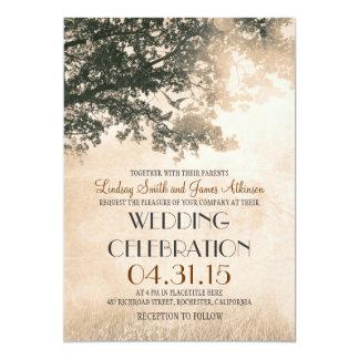 Arbre vintage et mariage campagnard rustique carton d'invitation  12,7 cm x 17,78 cm