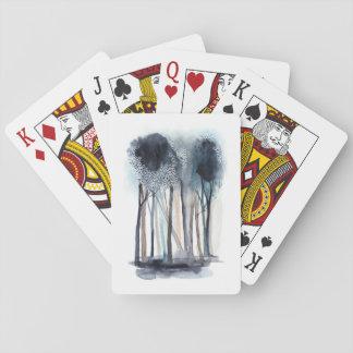 Arbres abstraits tranquilles cartes à jouer