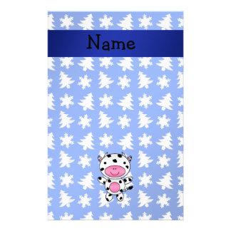 Arbres bleus personnalisés de flocons de neige de  papiers à lettres
