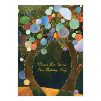 Arbres d'amour dans le mariage campagnard rustique carton d'invitation  12,7 cm x 17,78 cm