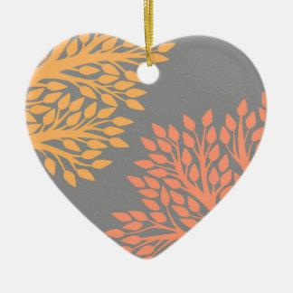 Arbres d'automne ornement cœur en céramique
