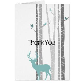 Arbres de bouleau avec des cerfs communs cartes de vœux
