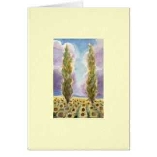 Arbres de Cypress dans le domaine de tournesol Carte De Vœux