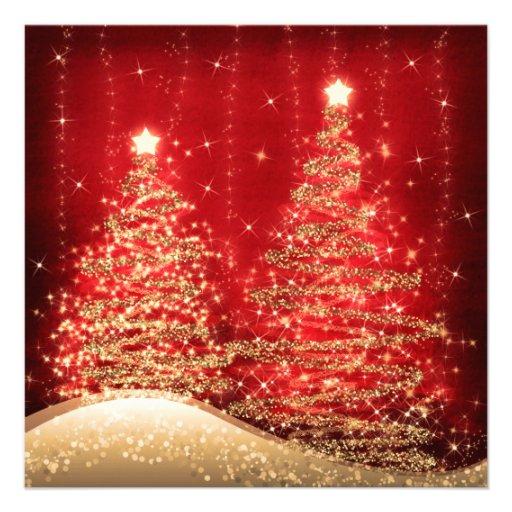 Arbres de scintillement de fête de Noël élégante r Carton D'invitation