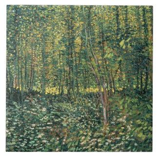 Arbres de Vincent van Gogh | et broussaille, 1887 Grand Carreau Carré