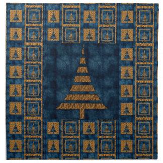 Arbres et bleu de Noël de tigre Serviettes De Table