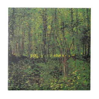 Arbres et broussaille par Van Gogh Petit Carreau Carré