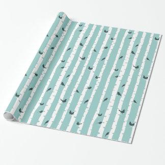 Arbres et oiseaux de bouleau bleus chics assez papier cadeau