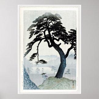 Arbres et scène Ukiyo-e de lac Posters