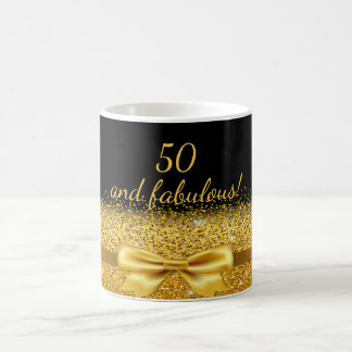 arc 50 d'or chic fabuleux avec l'étincelle sur le mug