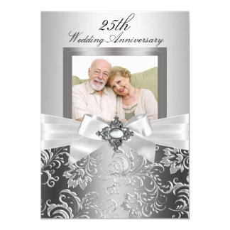 Arc argenté de bijou et 25ème anniversaire de carton d'invitation  12,7 cm x 17,78 cm