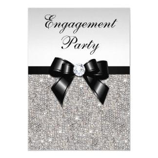 Arc argenté de noir de paillettes de fiançailles carton d'invitation  12,7 cm x 17,78 cm