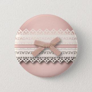 Arc blanc chic girly de rose de dentelle de badge