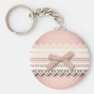 Arc blanc chic girly de rose de dentelle de porte-clé rond