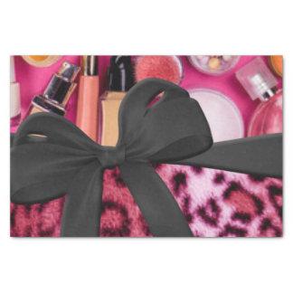 Arc cosmétique de léopard d'impression noir rose papier mousseline