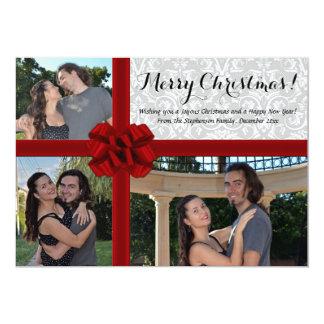Arc de boîte-cadeau de Faux, carte de Noël de 3 Invitation