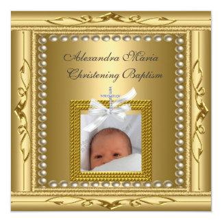 Arc de cadre de photo d'or de baptême de baptême carton d'invitation  13,33 cm