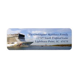 Arc décoré de bateau de croisière personnalisé étiquette d'adresse retour