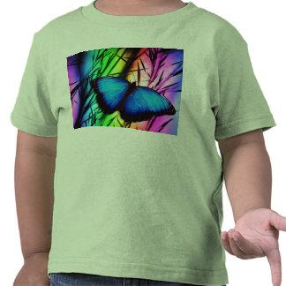 Arc-en-ciel bleu de papillon t-shirt