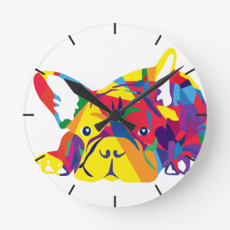 Arc-en-ciel bouledogue français horloge ronde