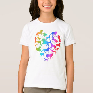 Arc-en-ciel de cheval et de T-shirt de coeur