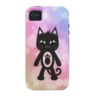 Arc-en-ciel de Kawaii et chat noir Coques Case-Mate iPhone 4