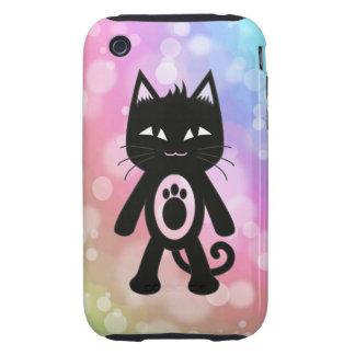 Arc-en-ciel de Kawaii et chat noir Étuis iPhone 3 Tough