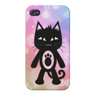 Arc-en-ciel de Kawaii et chat noir Étui iPhone 4