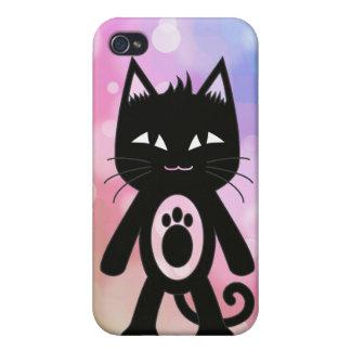 Arc-en-ciel de Kawaii et chat noir Coques iPhone 4/4S
