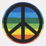 arc-en-ciel de symbole de paix autocollant rond
